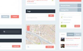 Бесплатные PSD макеты - Flat Blog PSD Kit