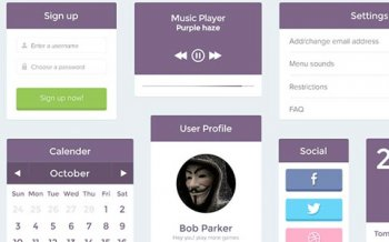 Бесплатные PSD макеты - Purple UI Kit PSD